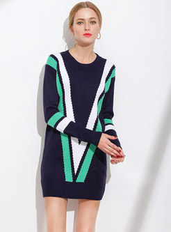 Color-blocked O-neck Loose Knitted Sweater
