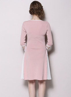 Color-blocked Splicing Gathered Waist Slit Knitted Dress