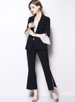 Striped Flare Sleeve Blazer & High Waisted Flare Pants