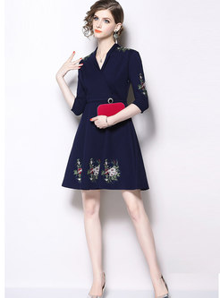 Stylish Embroidered V-neck High Waist Slim Dress