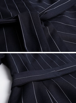 Elegant Dark Blue Work Striped Coat & Wide Leg Pants