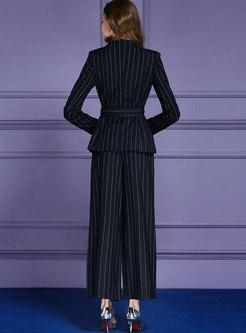 Elegant Dark Blue Work Striped Coat & Wide Leg Pants