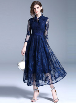 Lace Tied-collar See-through Gathered Waist Hem Dress