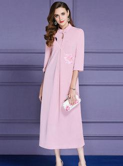 Elegant Pink Mandarin Collar Elastic Waist Maxi Dress