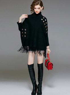 Pure Color Bat Sleeve Loose Tassel Sweater