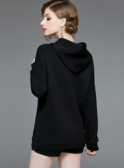 Casual Autumn Hooded Tied Long Sleeve Print Sweatshirt