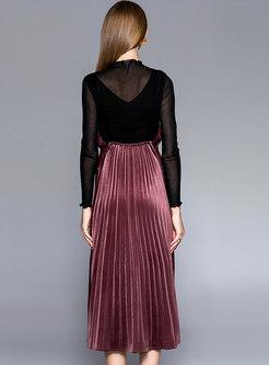 Autumn Black Mesh Blouse & Shimmer Velvet Sling Dress