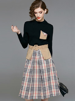 Trendy O-neck Long Sleeve Plaid Two Piece Outfits