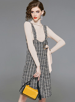 High Neck Slim Sweater & Plaid Tied Strap Dress