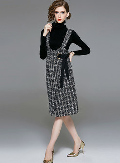 Solid Color Turtle Neck Sweater & Strap Plaid Dress
