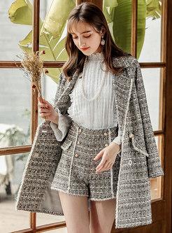 Elegant Grid Rough Selvedge Notched Straight Coat