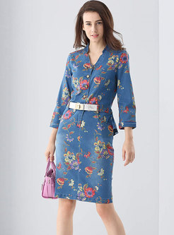 Vintage Denim Print V-neck Belted Sheath Dress
