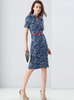 Denim Print Stand Collar Belted Bodycon Dress