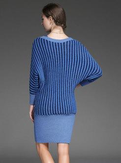 Stylish Striped Slash Neck Knitted Dress