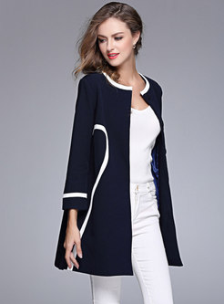 Color-blocked O-neck Waist Wool Blended Coat