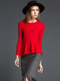 Pure Color O-neck Falbala Knitted Sweater