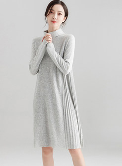 Pure Color Splicing Knitted Pleated Dress
