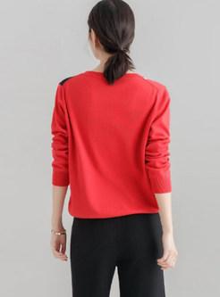 Casual Color-blocked O-neck Pullover Sweatshirt