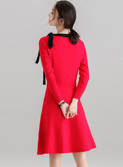 Elegant Color-blocked Bowknot Slim Knitted Dress
