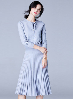 Stylish Bowknot Knitted Zip-up Top & Pleated Skirt