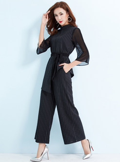 Striped High Neck Belted Asymmetric Top & Striped Wide Leg Pants