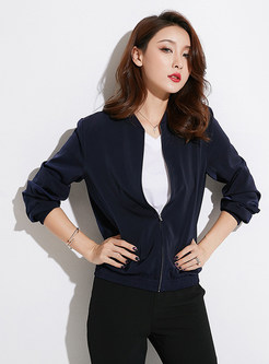 Pure Color Stand Collar Zippered Short Coat