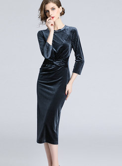 Elegant Three Quarters Sleeve Shirred Bodycon Dress