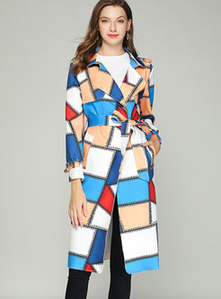 Hit Color Plaid Trench Coat With Pockets