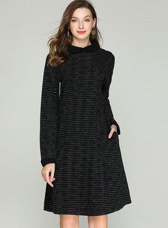 Black Peter Pan Collar Elastic Waist Plus Size Dress