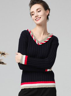 Stylish Color-blocked V-neck Long Sleeve Sweater