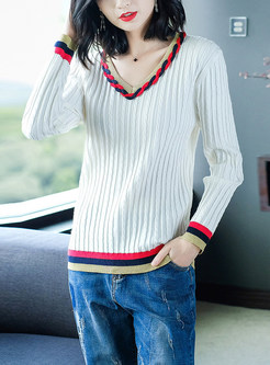 Trendy Long Sleeve Color-blocked Selvedge Sweater