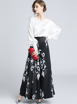 Stylish Lantern Sleeve Blouse & All Over Print Maxi Skirt