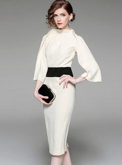 Stylish Flare Sleeve Waist Slim Bodycon Dress