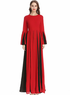 Chic Flare Sleeve Contrast-color Patchwork Maxi Dress