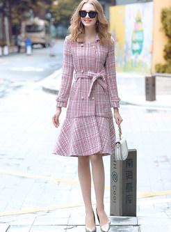 Trendy Tweed Long Sleeve Knee-length Mermaid Coat