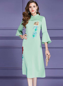 Vintage Flare Sleeve Embroidered Stand Collar Maxi Dress