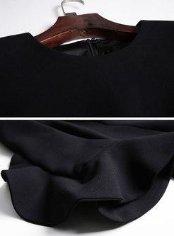 Solid Color Flare Sleeve Falbala Slim Dress