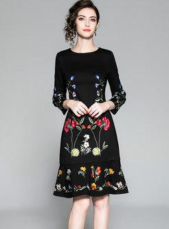 Black Crew-neck Embroidered Wrap Mermaid Dress