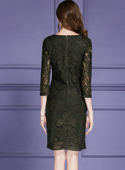 Elegant Solid Color O-neck Embroidered Sheath Dress