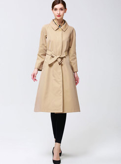 Khaki Lapel Belted Single-breasted Trench Coat