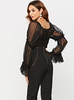 Pure Color Flare Sleeve See-through Blouse