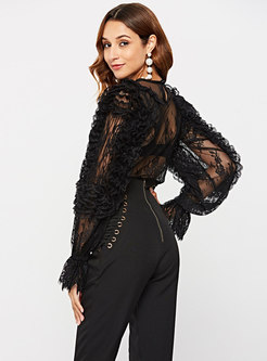 Sexy Lace Hollow Out O-neck Blouse