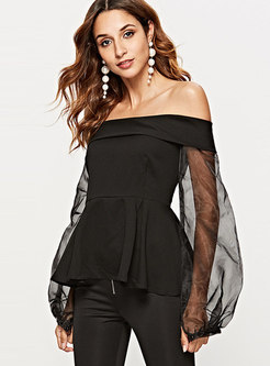 Chic Off Shoulder Lantern Sleeve Falbala Blouse