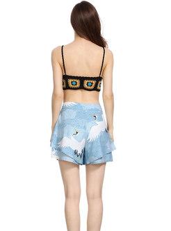 Holiday Lantern Sleeve Print Cardigan & Wide-leg Shorts