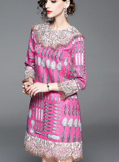 Stylish O-neck Printed Fringed Slim Dress