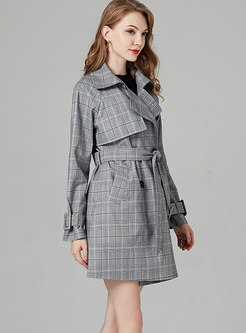 Elegant Grid Turn Down Collar Belted Trench Coat