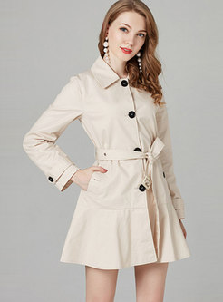 Lapel Belted Falbala Single-breasted Trench Coat