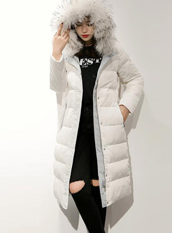Pure Color Hooded Zippered Knee-length Down Coat