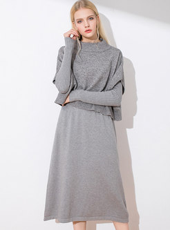 Solid Color O-neck A Line Knitted Dress & Short Sleeve Knitted Top