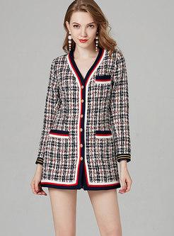 Elegant Color-blocked V-neck Single-breasted Slim Coat